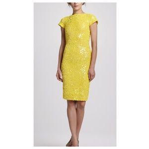 Alice + Olivia Taryn Yellow Sequin Dress